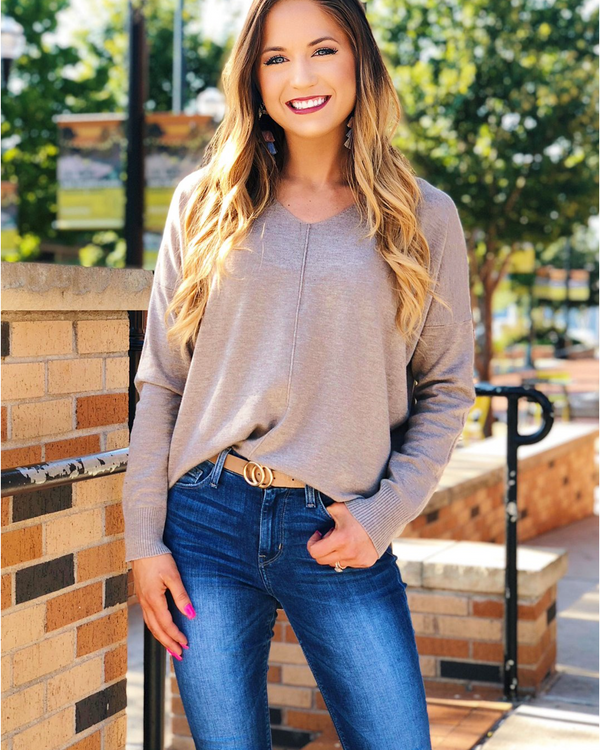 Best Selling Latte VNeck Sweater - Cason Couture