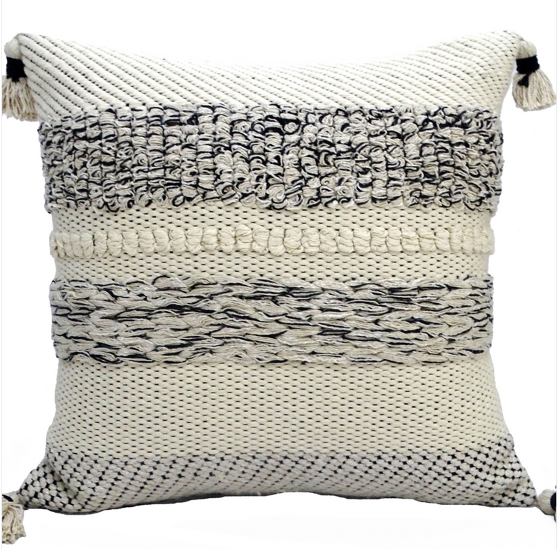 Black and White Boho Throw Pillow - Cason Couture