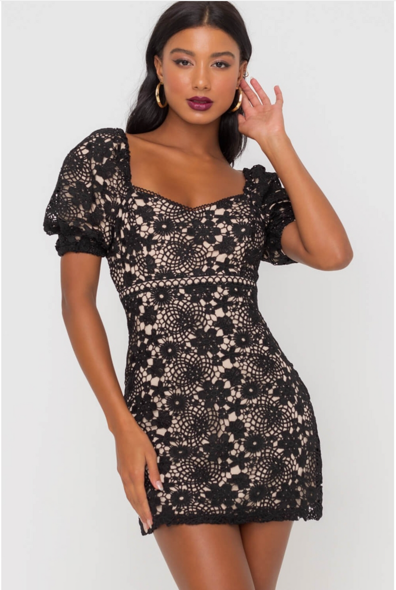 The Rosalie Black Lace Line Dress - Cason Couture