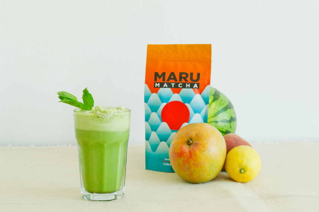 Duuuude, summer in a glass! You need to try this matcha mint mango frappé