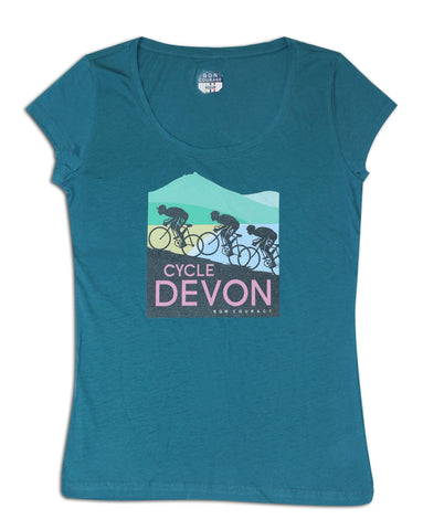 Ladies 'Cycle Devon' scoop neck Tshirt