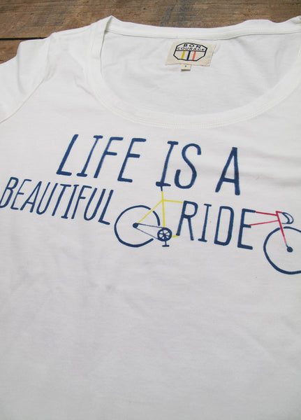 Ladies 'Life is a beautiful ride' scoop neck Tshirt