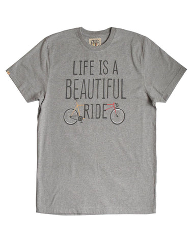 'Life is a beautiful ride' grey marl T-shirt