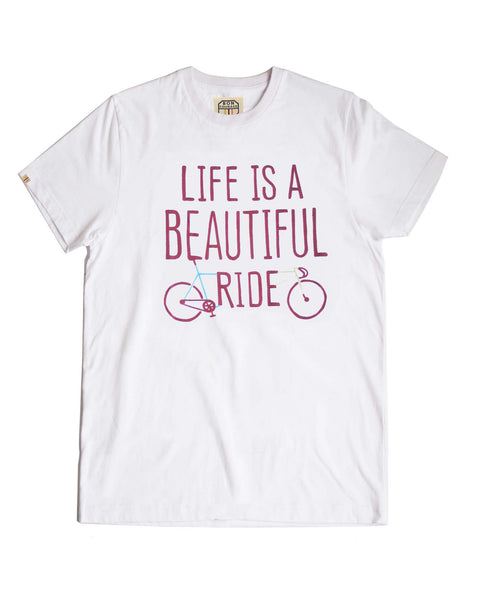 'Life is a beautiful ride' red print white T-shirt
