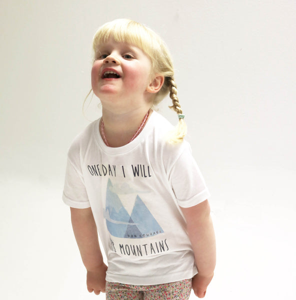 'One day I will climb mountains' Kids Tshirt