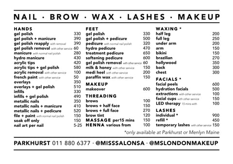 Miss Salon London Menlyn Maine Price List 2019