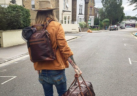 Model Ricki Hall is all set for his yoga retreat with our Soho holdall and back pack