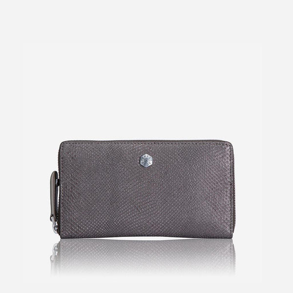 Large Leather Purses - Medium Zip around Purse, Grey