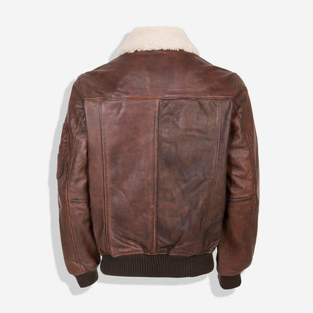 Sherpa Collar Bomber Leather Jacket, Brown