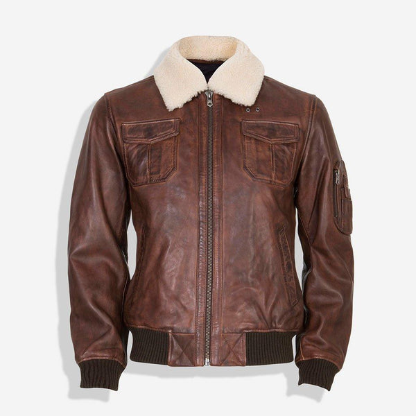 Black Friday Men's Collections - Sherpa Collar Bomber Leather Jacket, Brown