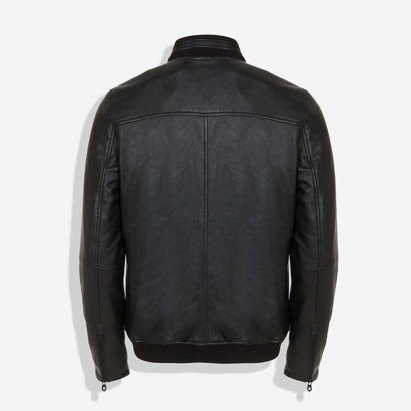 Black Friday Men's Collections - Standing Collar Bomber Leather Jacket, Black