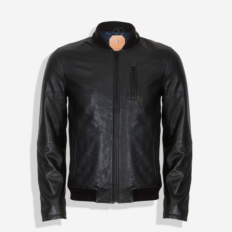 Standing Collar Bomber Leather Jacket, Black - Jekyll and Hide UK