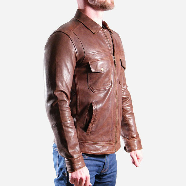 Men's Sale - Leather Jacket, Brown
