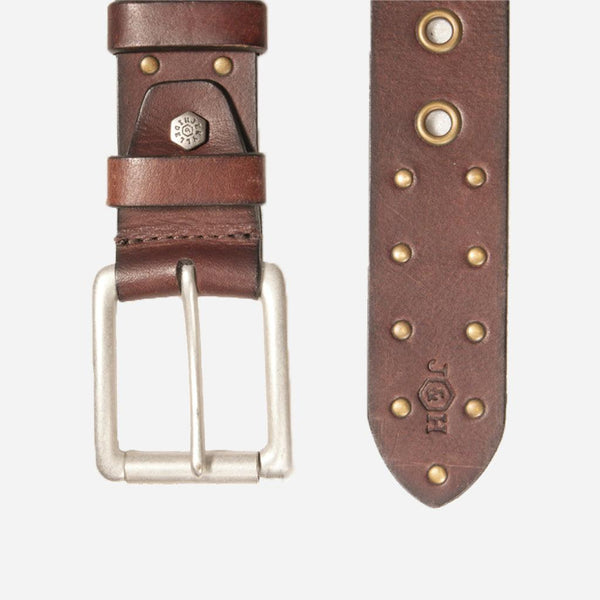 Men's Sale - Brass Stud Leather Mens Belt, Brown