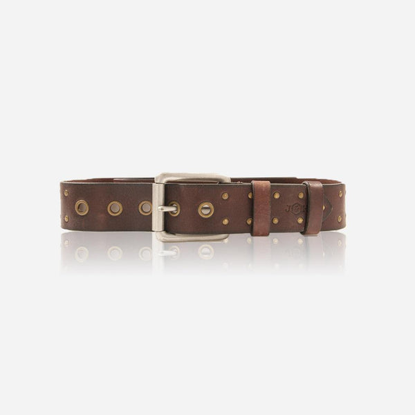 GIFTS UNDER £50 - Brass Stud Leather Mens Belt, Brown