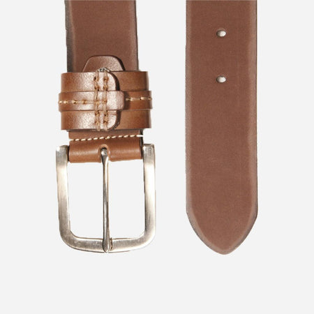 Detailed Leather belt, Brown
