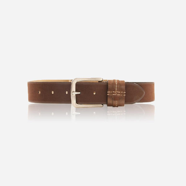 Men's Belts - Detailed Leather belt, Brown