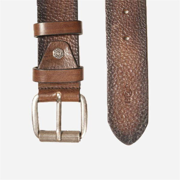 Men's Belts - Classic 2 Tone Leather belt, Brown