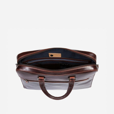 Slim Zip Top Briefcase, Tobacco - Jekyll and Hide UK