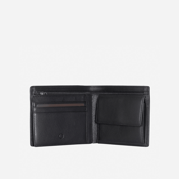 Men's 30% Discount - Large Bifold Wallet With Coin, Soft Black