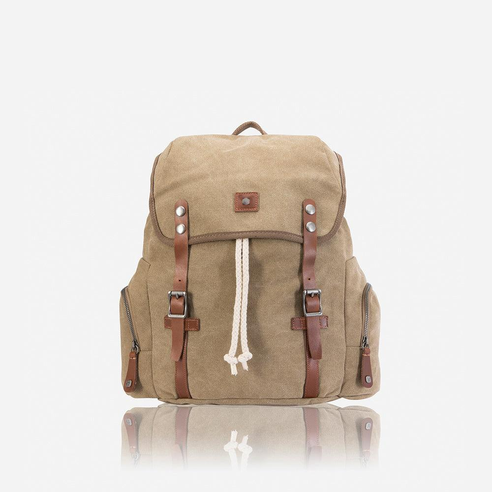 Casual Canvas Backpack 43cm, Khaki - Jekyll and Hide UK