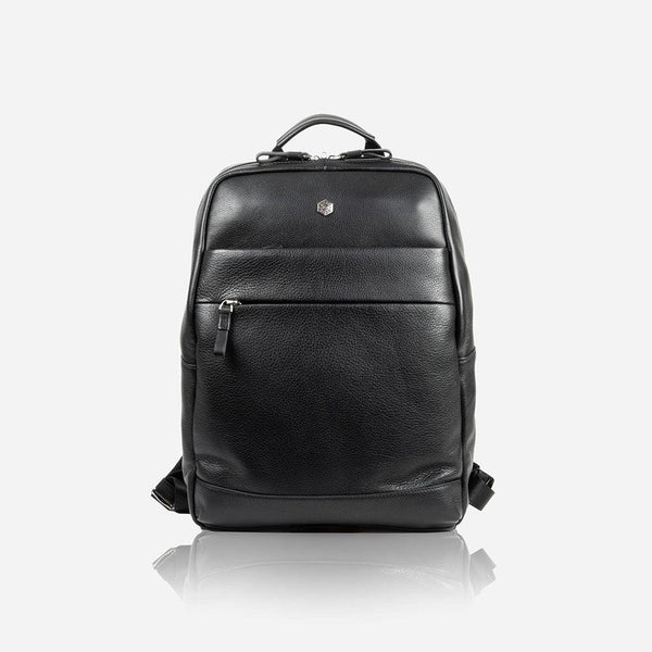 Leather Business Bags for Women - Compact Backpack 38cm, Matt Black