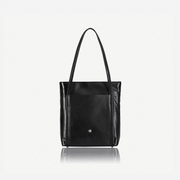 Ladies Leather Handbags - Upright Leather Shopping Tote, Matt Black