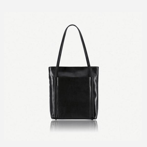 Women's Sale - Upright Leather Shopping Tote, Matt Black