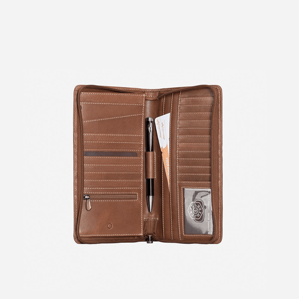 All Men's Wallets - Large Zip-Around Travel And Passport Organiser