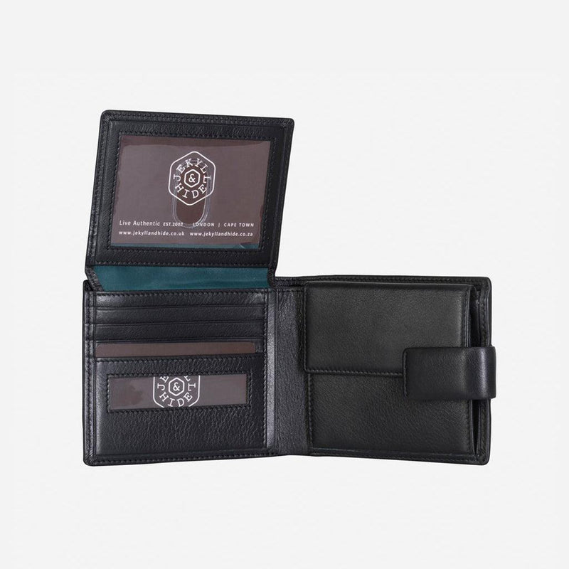 Large Bifold Wallet With Press Stud Closure, Soft Black - Jekyll and Hide UK