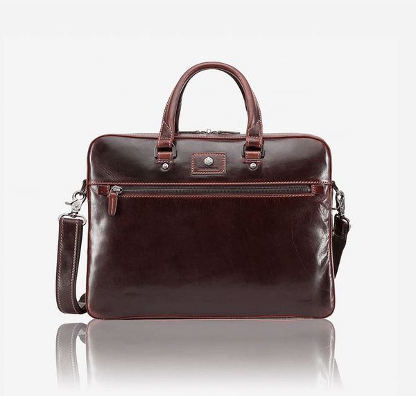 Leather Business Bags for Women - Slim Zip Top Briefcase, Tobacco