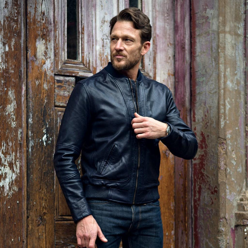 Leather Jacket, Navy - Jekyll and Hide UK