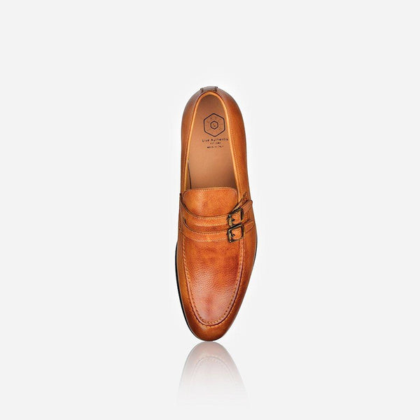 Men's Sale - Men's Leather Monk Shoe, Tan