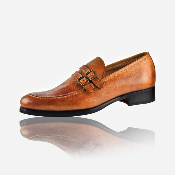 NAPOLI - Men's Leather Monk Shoe, Tan