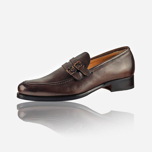 NAPOLI - Men's Leather Monk Shoe, Brown