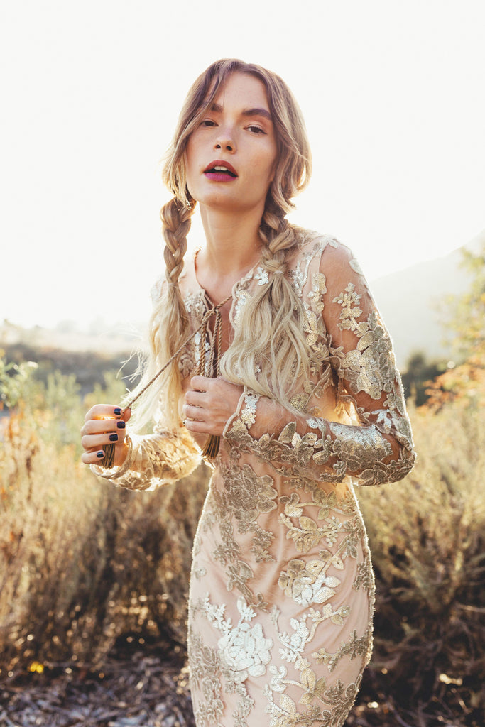 Geneva Midi Dress in Luxe Sequined Lace