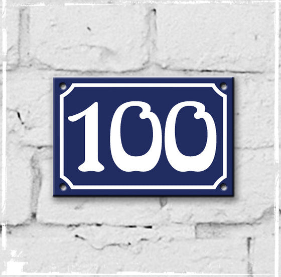Blue - french enamel house number - 100