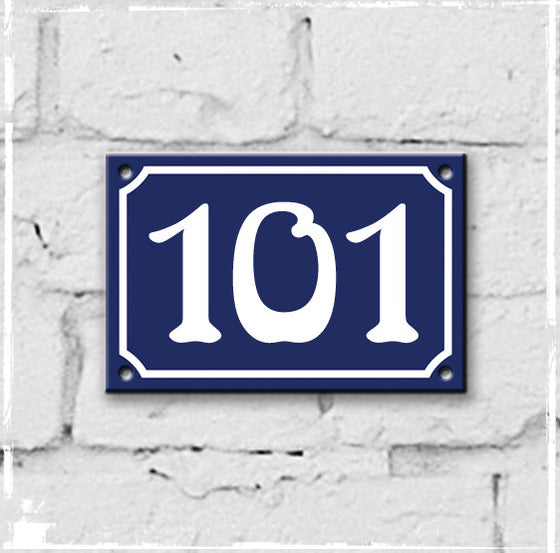 Blue - french enamel house number - 101