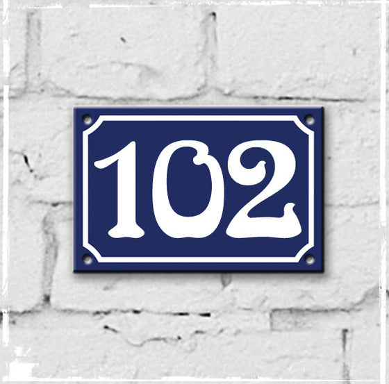 Blue - french enamel house number - 102
