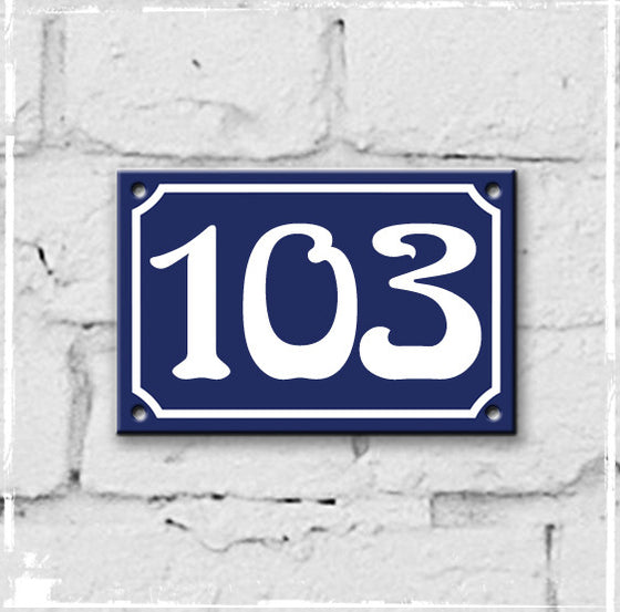 Blue - french enamel house number - 103
