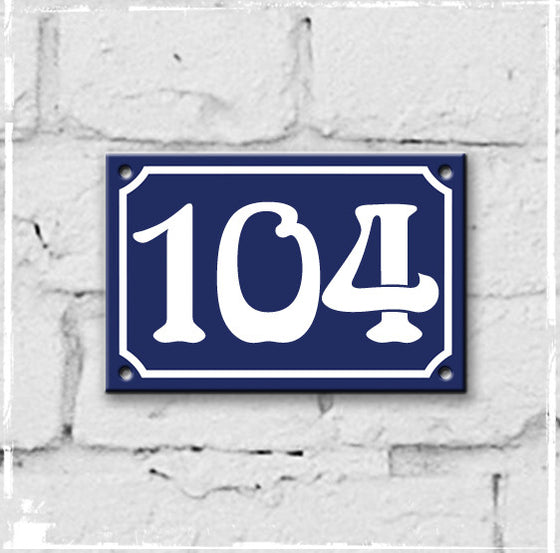Blue - french enamel house number - 104