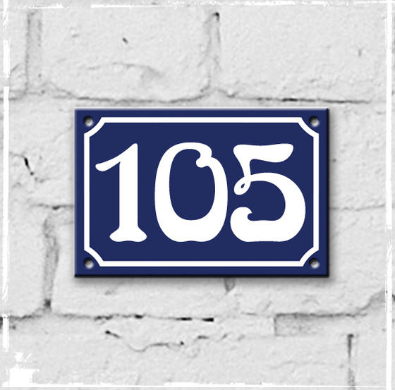 Blue - french enamel house number - 105