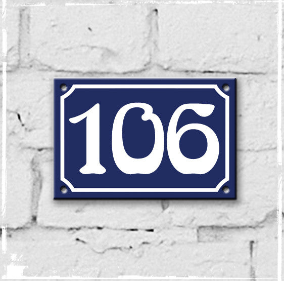 Blue - french enamel house number - 106