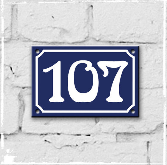 Blue - french enamel house number - 107