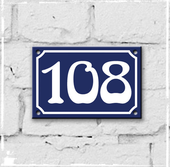 Blue - french enamel house number - 108