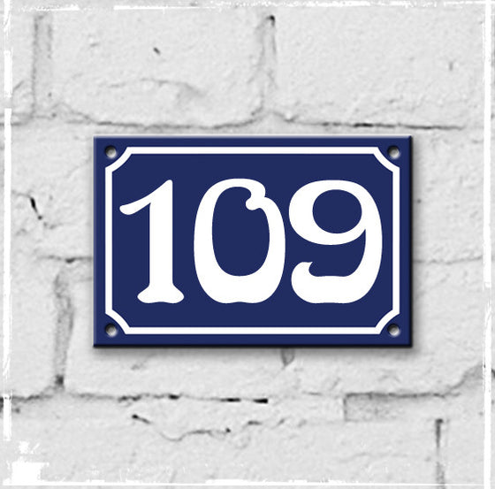Blue - french enamel house number - 109, Art Nouveau typeface