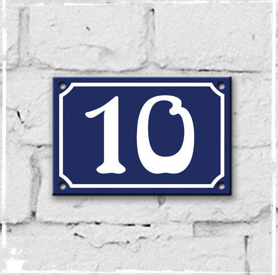Blue - french enamel house number - 10, Art Nouveau typeface