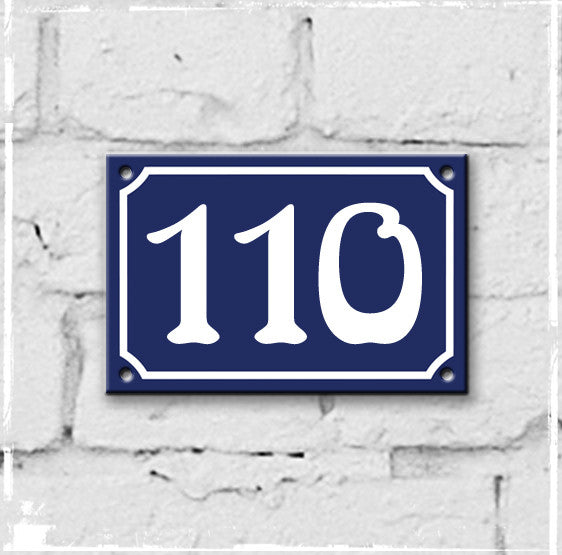 Blue - french enamel house number - 110, Art Nouveau typeface
