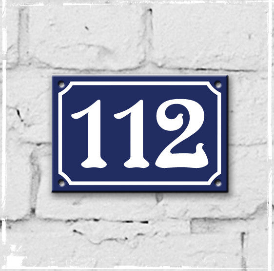 Blue - french enamel house number - 112