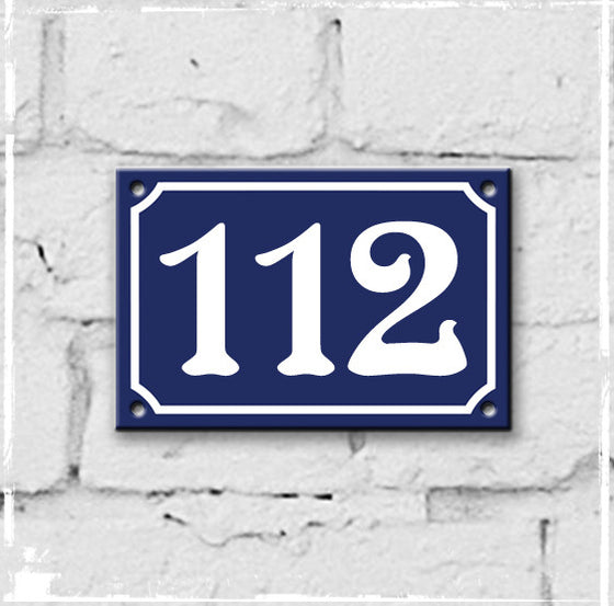 Blue - french enamel house number - 112, Art Nouveau typeface